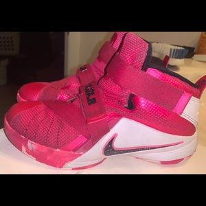 Pink and white Lebron's size 2Y
